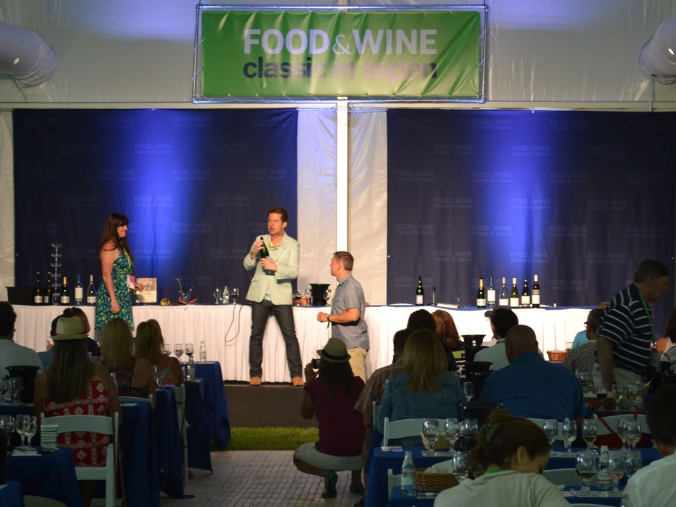 Aspen Food & Wine festival chef addressing audience