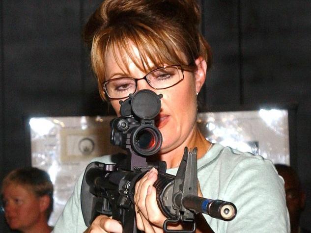 Sarah Palin with a gun