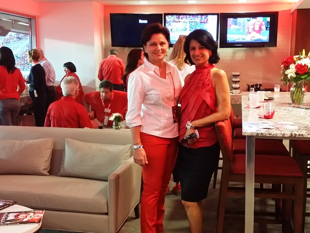News, Shelby, UH Stadium Suite Life, Sept. 2014, Beth Madison, Renu Khator