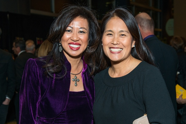 0030 Carol Beck, left, and Grace Kim MCW at the Cristo Rey Jesuit Gala January 2015