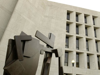 Joel Perlman's Square Tilt sculpture at University of Texas-Austin