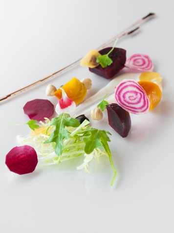 David Coffman new chef at Up Restaurant October 2013 Daivd Coffman new chef at Up Restaurant October 2013 Beet Salad- Champagne Cured Red and Yellow Beets, Raw Candy Striped Beets, Yuzu Goat Cheese Mousse and Caramelized Hazelnuts