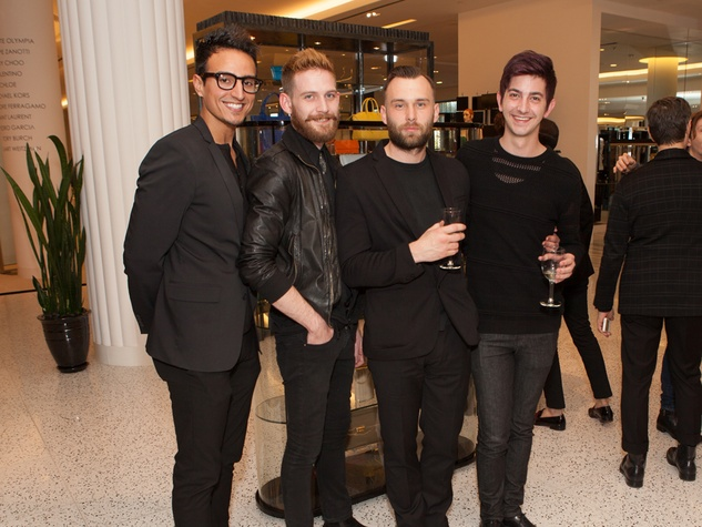 3. Alain Arango, from left, Steven Clark, Brad Bell and James Fletty at the Little Black Dress designer kick-off party and fashion show March 2014