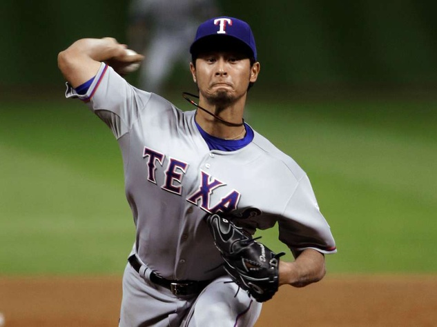 Yu Darvish pitches for the Texas Rangers