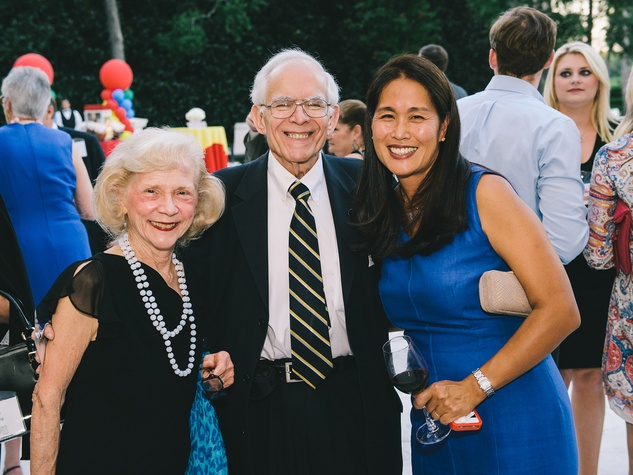 Shirley and Jim Dannenbaum, from left, with Grace Kim at The Memorial Hermann at the Under the Boardwalk kickoff party