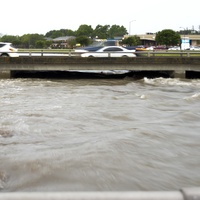 High water at Braes Bayou at Chimney Rock in Houston on April 27, 2013