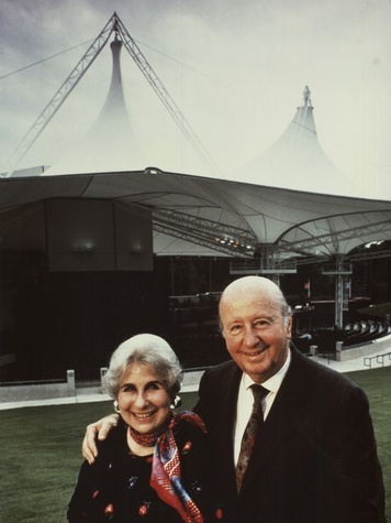 Cynthia and George Mitchell at opening of the Cynthia Woods Mitchell Pavilion in The Woodlands in 1990