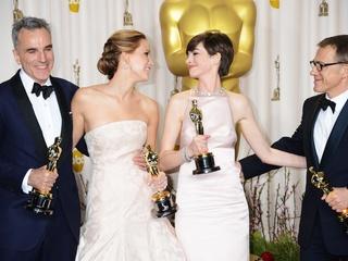 Daniel Day-Lewis, Jennifer Lawrence, Anne Hathaway, Christoph Waltz, Academy Awards, February 2013