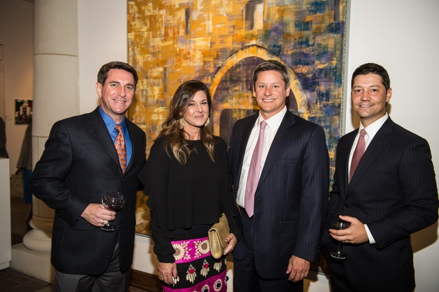 2924 Mark Clegg, from left, Amy Johnson, Heath Johnson and Andrew Johnson at the Barbara Hines Art Opening in Dallas October 2014