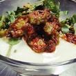 Indika dahi wada chaat! Chilled lentil dumplings, cumin yogurt sauce, pickled okra & peanuts