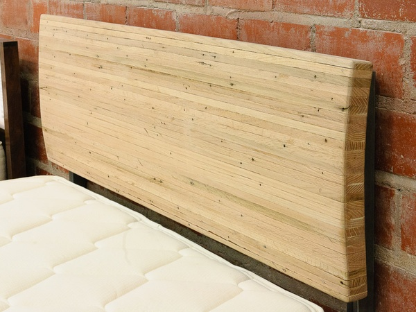 News_New Living_furniture_queen headboard made from oak flooring reclaimed from local houston home