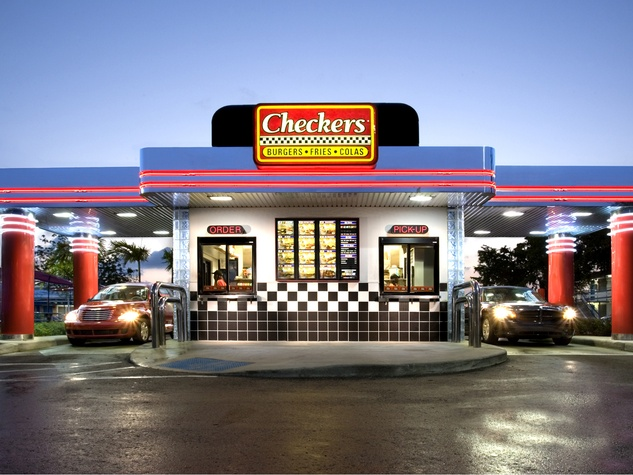 Checkers and Rally's Long Island people waiting in line for drive-through to open