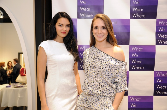 Neal Hamil Agency models posing in Atrium Ready To Wear at the What We Wear Where Mobile App party December 2013