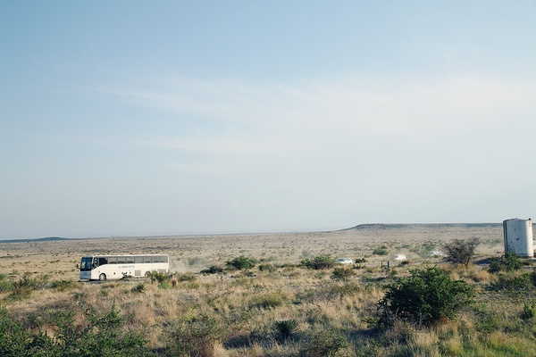 Ballroom Marfa Weekend, June 2012, bus, Shuttle to Benefit Dinner.jpg