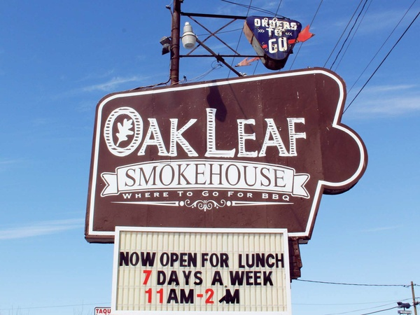 Oak Leaf Smokehouse, February 2013, sign