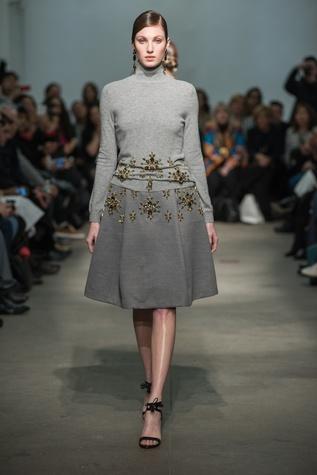 Rolando Santana turtleneck and embellished jeweled poof skirt