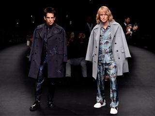 Derek Zoolander (Ben Stiller) and Hansel (Owen Wilson) walk the runway at the Valentino Fashion Show during Paris Fashion Week