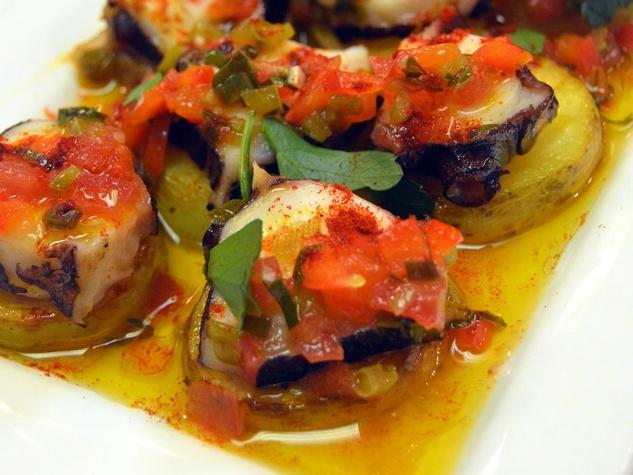 Batanga Houston, grilled octupus, potato, pimenton, sofrito vinaigrette