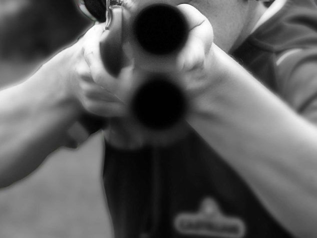 shotgun, looking down the barrel