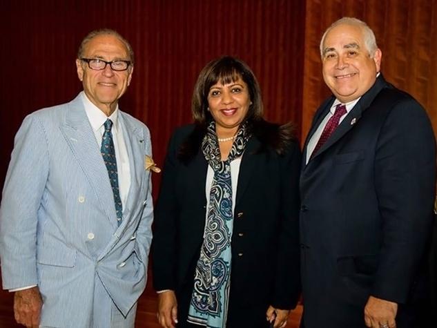 Robert Sakowitz, from left, Munira Panjwani and Dr. William Flores at the Aga Khan Foundation Emmisary awards reception September 2014