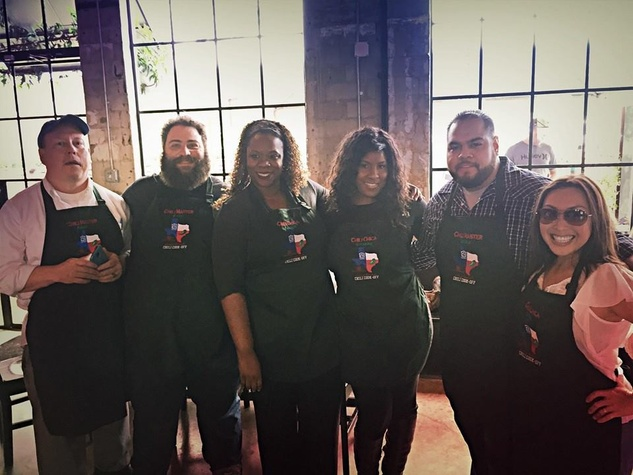 Kevin Strickland, from left, Eric Sandler, Felice Sloan, Shanna Jones, Mike Cortez and Lily Jang at the Casa de Esperanza's Young Professionals 5th Annual Chili Cook Off February 2015