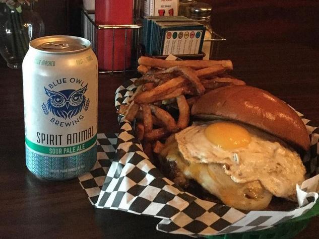 Sputnik burger Blue Owl Brewing beer