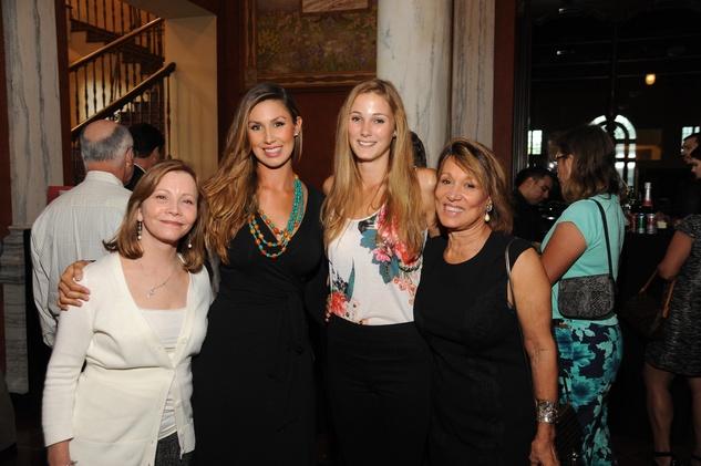 6 5672 Linda Kelly, from left, Elizabeth Kelly, Kim Klobke and Emmy Vest at the Port of Houston library exhibition celebration September 2014