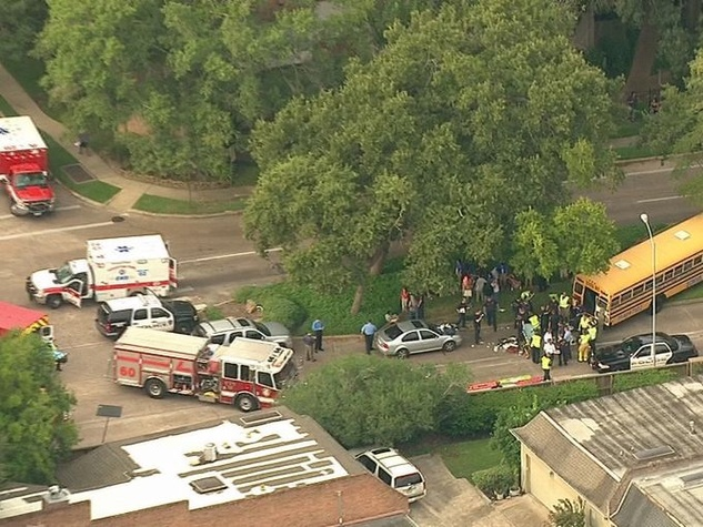 Aerial View of Memorial School Bus Accident