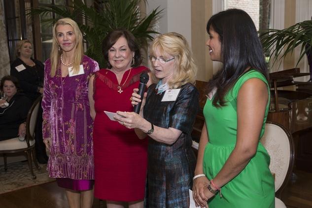 News, Shelby, UST membership tea,Marie Bosarge, Rose Cullen,  Susan Osterberg and Kusum Patel Nov. 2014