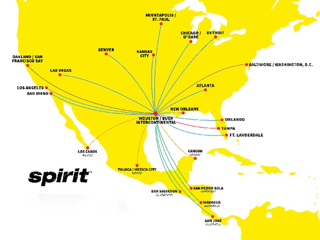 Spirit Airlines new routes out of Houston November 2014 WITHOUT SMALL WRITING