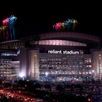 Reliant Stadium at night with fireworks