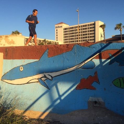 A scene at the Galveston Seawall