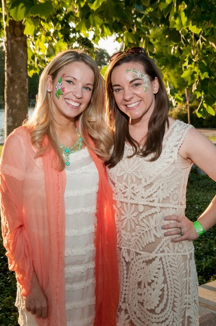 Kristen Welsh McDanald, left, and Courtney Carlson Siegmund at the Urban Green Birthday en Blanc May 2014.