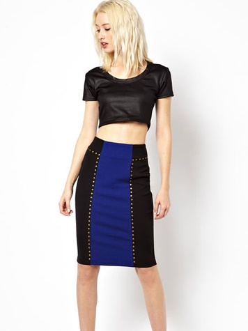 asos Beloved Panelled Skirt with Studs