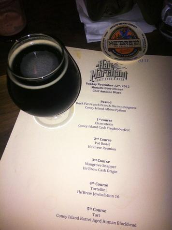 Hay Merchant, first beer dinner, Schmaltz brewing, November 2012, menu, He'Brew Reunion