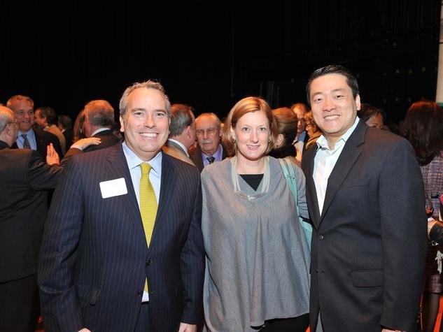 Jason Fuller, from left, Elizabeth Dunbar and Gene Wu