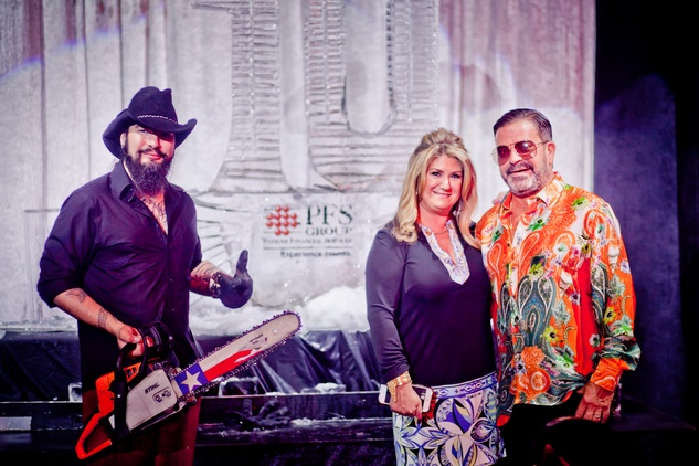 122 Reverend Butter, left, with Debbie and Jeff Gorski at the Patient Financial Services 10th anniversary party April 2015
