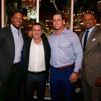 News, Equinox Opening Dinner, Dec. 2015, Michael Strahan, Harvey Spevak, Brian Cushing, Chester Pitts