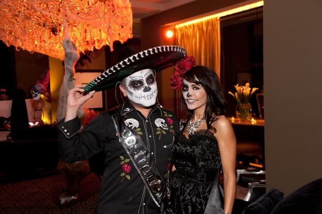 8 Edward Sanchez and Diane Caplan at the Bone Bash Halloween party October 2013