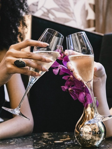 Two women clinking champagne glasses