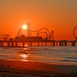 Pleasure Pier, Galveston, sunrise, sunset
