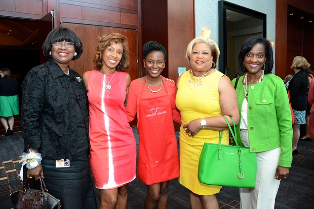 5602 Jackie Pope, from left, Nomathemba Armstrong, Jessica Shittu, Alane Lillie and Denise Malloy at the Girls Inc. luncheon May 2014