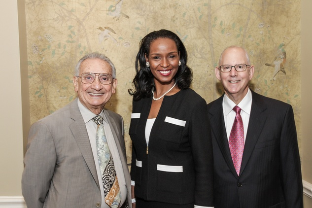 9395 Dr. Wadi Suki, from left, Windell Herron and Dr. Stephen Fadem at the National Kidney Foundation luncheon May 2014