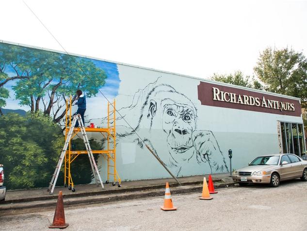 Houston Zoo gorilla mural February 2015 by artist Anat Ronen 3705 Main St.