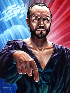 Kneel by Jason Edmiston poster on display at Mondo Gallery featuring Zod