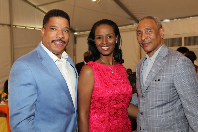 Doug and Winell Herron, from left, with John Guess Jr. at the HMAAC Kinsey Collection reception August 2014