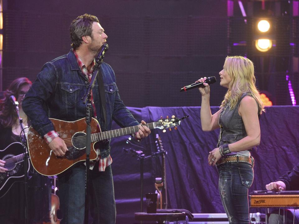Blake Shelton in concert at RodeoHouston March 2014 and Miranda Lambert