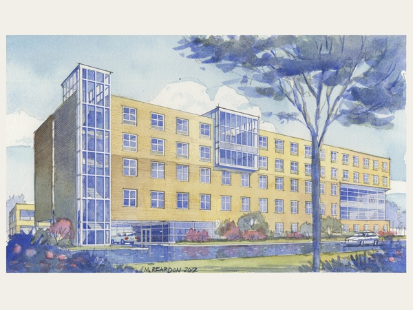 Houston Hope Lodge, rendering, watercolor