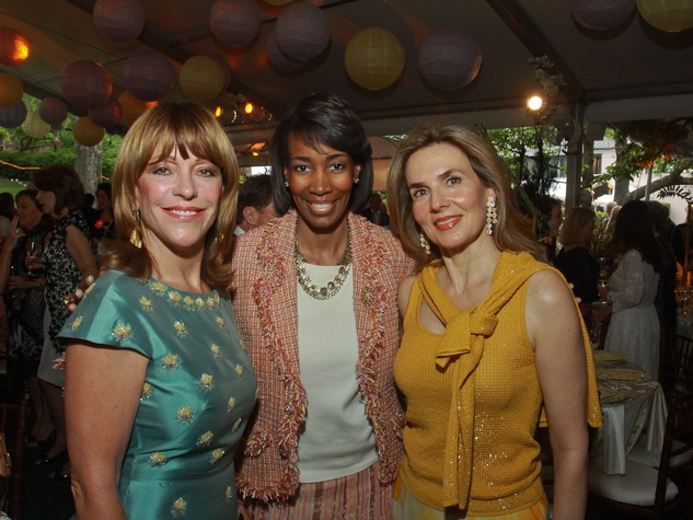 Bayou Bend Garden Party, April 2013, Franci Crane, from left, Stacey Porter and Celina Hellmund