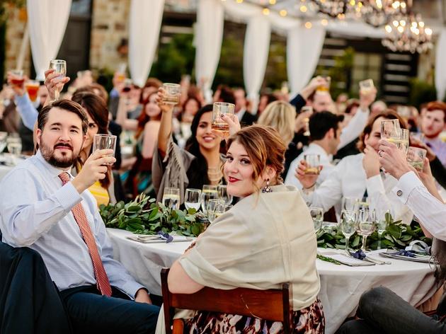 Wedding Maggie Bang and Austen Miller Fredericksburg Boot Ranch toast guests